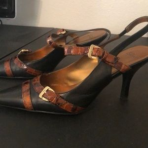 One pair of sling back pumps